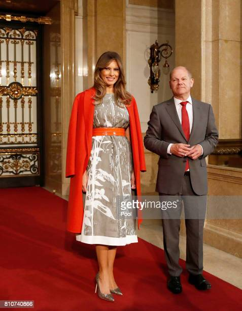 First Mayor of Hamburg Olaf Scholz welcomes Melania Trump wife of US President Donald Trump prior to the partner program of G20 summit on the second...