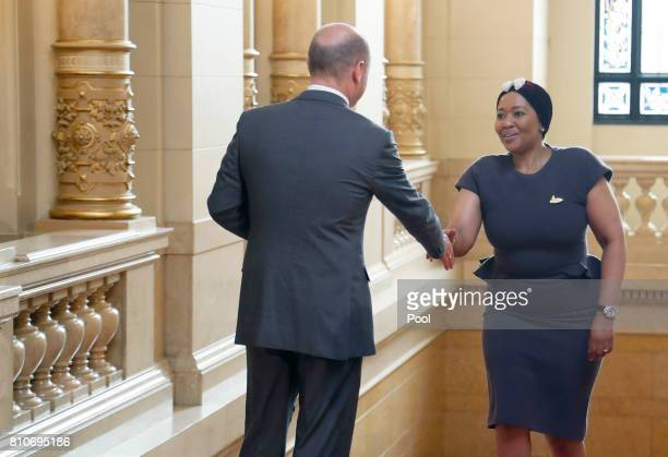 First Mayor of Hamburg Olaf Scholz welcomes Thobeka MadibaZuma wife of South African President Jacob Zuma during the partner program of G20 summit at...