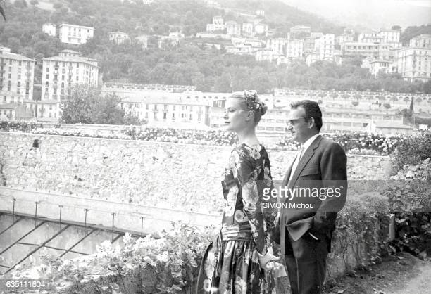First meeting between the Prince Rainier of Monaco and Grace Kelly at the Palais de Monaco on May 6 1955