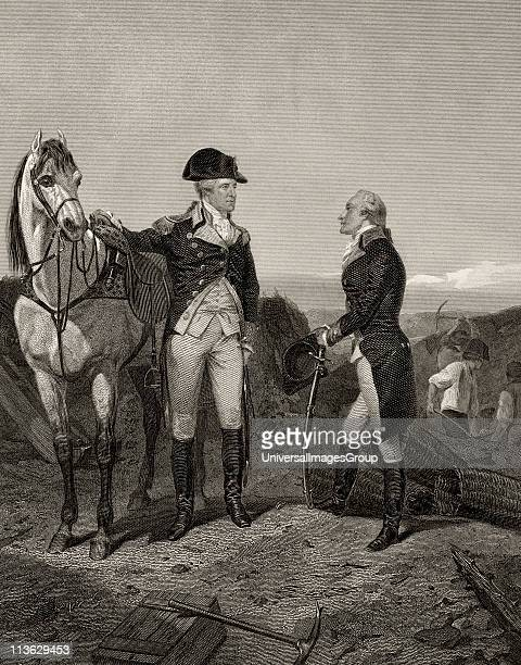 First meeting of George Washington 1732 to 1799 with Alexander Hamilton 1755 or 1757 to 1804 After Alonzo Chappel from Life and Times of Washington...