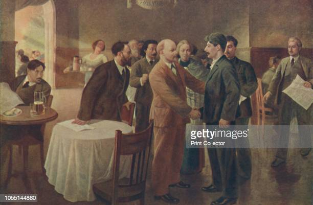 First Meeting of Lenin and Stalin, Tammerfors , December 1905', . Russian communist revolutionaries Vladimir Ilich Lenin and Joseph Stalin meet for...