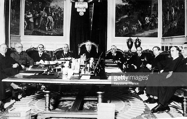 First Meeting Of Manuel Azana Diaz'S Government On February 19 1936 From Left To Right Jose Giral Pereira Minister Of The Navy Jose Miaja Menant...