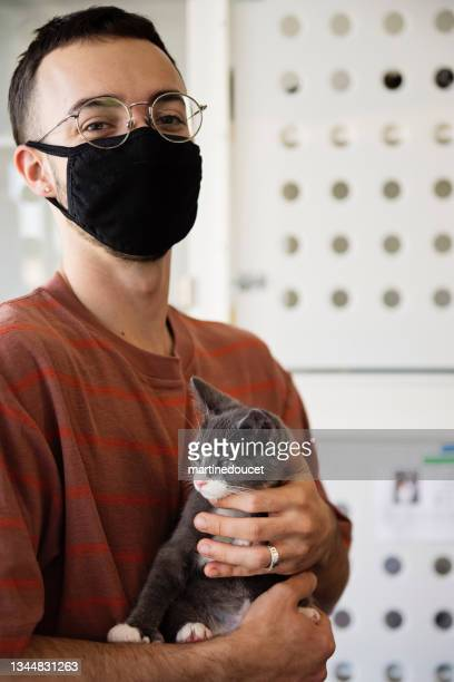 """first meeting of newly adopted kitten and young man. - """"martine doucet"""" or martinedoucet stock pictures, royalty-free photos & images"""