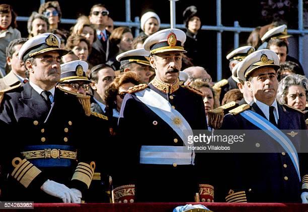 First Military Junta. Argentine military fictator Jorge Rafael Videla with Commander-in-Chief of the Navy Emilio Eduardo Massera and...