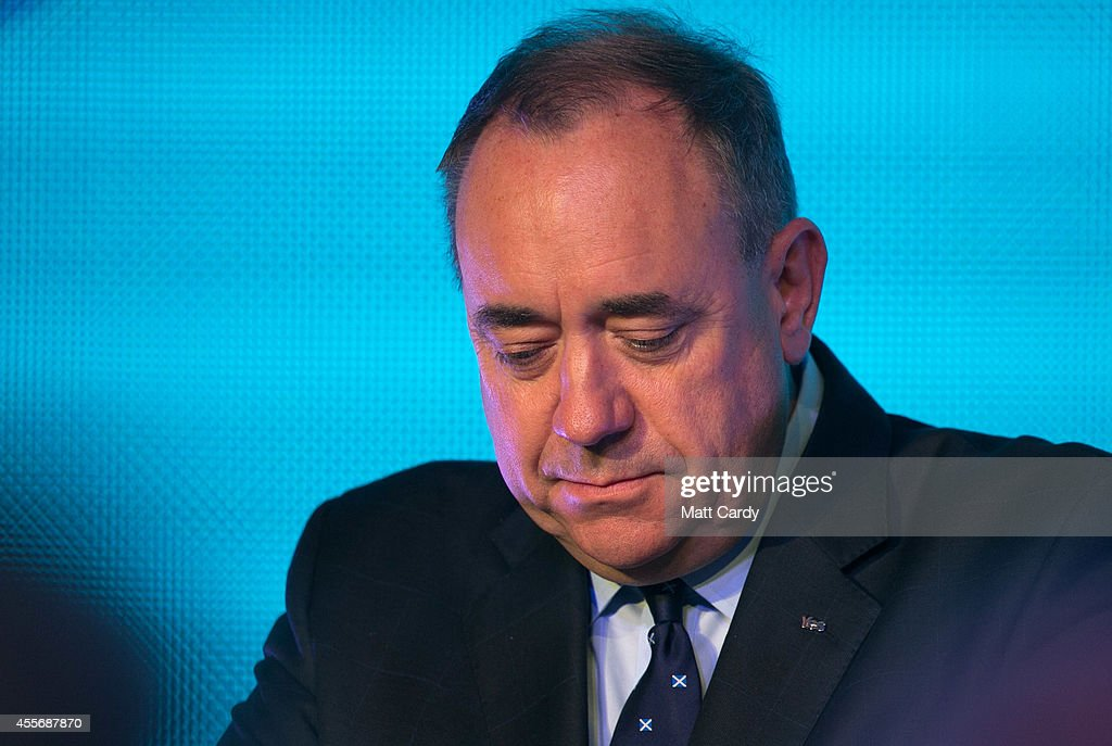 First Minister Alex Salmond First Minister Alex Salmond delivers a speech to supporters at Our Dynamic Earth on September 19, 2014 in Edinburgh, Scotland. The majority of Scottish people have today voted 'No' in the referendum and Scotland will remain within the historic union of countries that make up the United Kingdom.