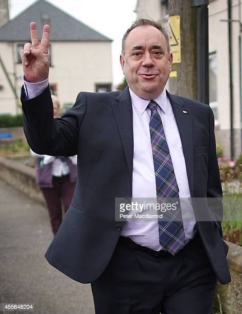 First Minister Alex Salmond gestures as he walks to meet with supporters on September 18 2014 in Turriff Scotland After many months of campaigning...