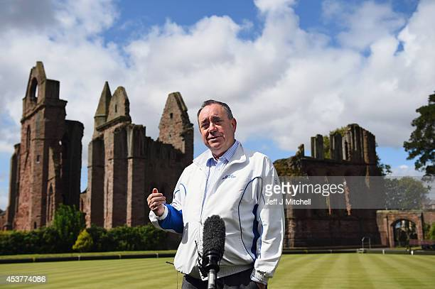 First Minister Alex Salmond speaks during a visit to Abbey Bowling Club on August 18 2014 in Arbroath Scotland Alex Salmond and the Scottish Cabinet...