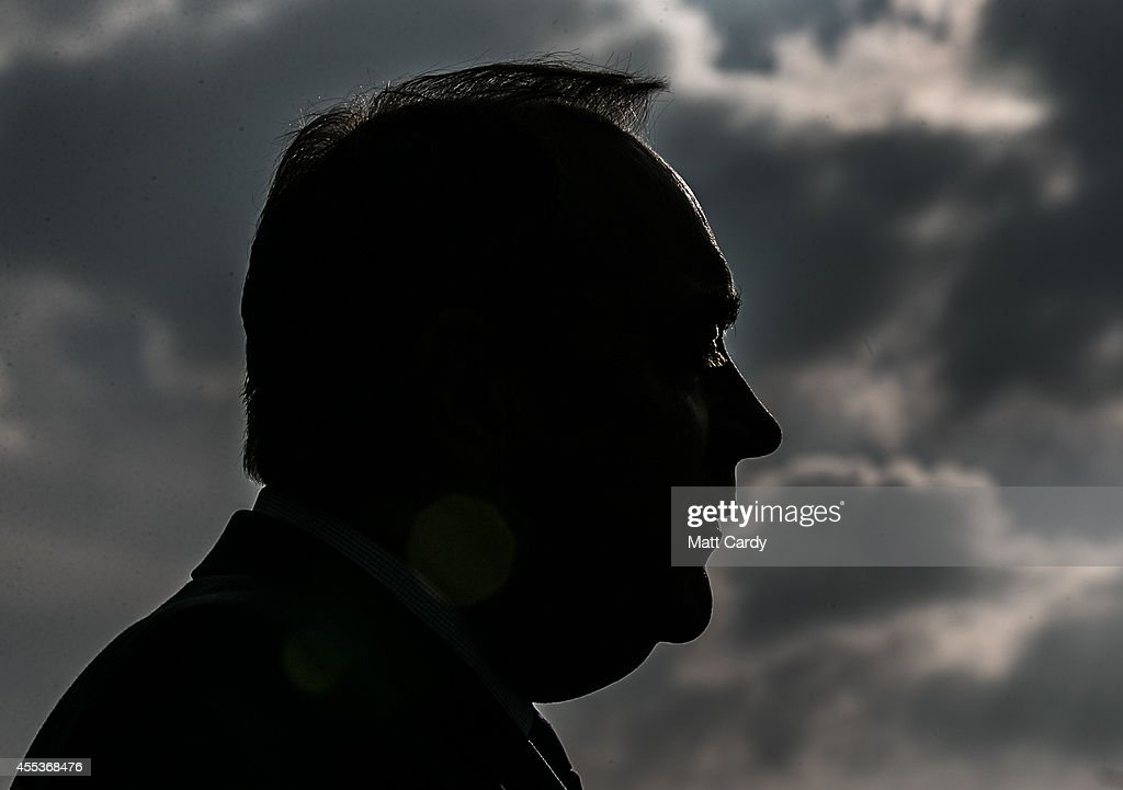First Minister Alex Salmond speaks to the media as he visits campaigns in a suburb of Glasgow on September 13, 2014 in Glasgow, Scotland. The latest polls in Scotland's independence referendum puts the No campaign back in the lead, the first time they have gained ground on the Yes campaign since the start of August.