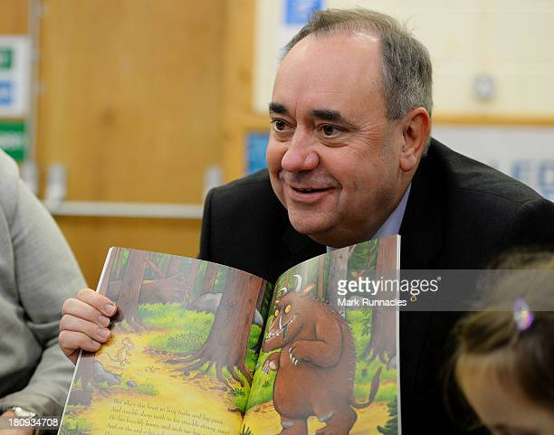 First Minister Alex Salmond talks to children during a visits to the North Edinburgh Childcare Centre to mark one year to go until the Scottish...