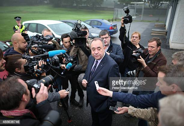 First Minister Alex Salmond talks to reporters after casting his vote in the referendum on September 18 2014 in Strichen Scotland After many months...