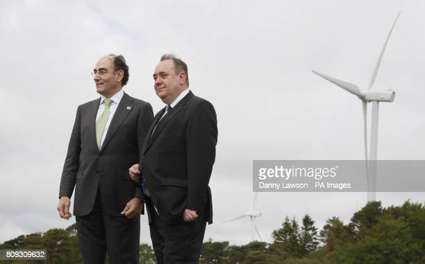 First Minister Alex Salmond with Ignacio Galan Chairman of Iberdrola during the official opening of Mark Hill windfarm in Ayrshire Scotland