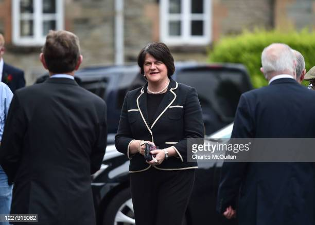 First Minister and DUP leader Arlene Foster arrives as the funeral takes place of former SDLP leader and Nobel Peace Prize winner John Hume at St...