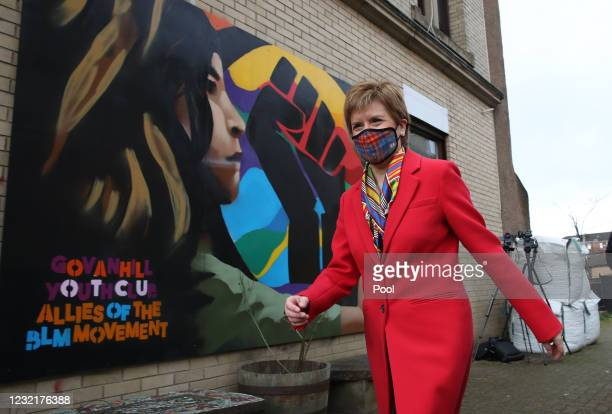 First Minister and leader of the Scottish National Party Nicola Sturgeon beside a Black Lives Matters mural in Glasgow, during campaigning for the...