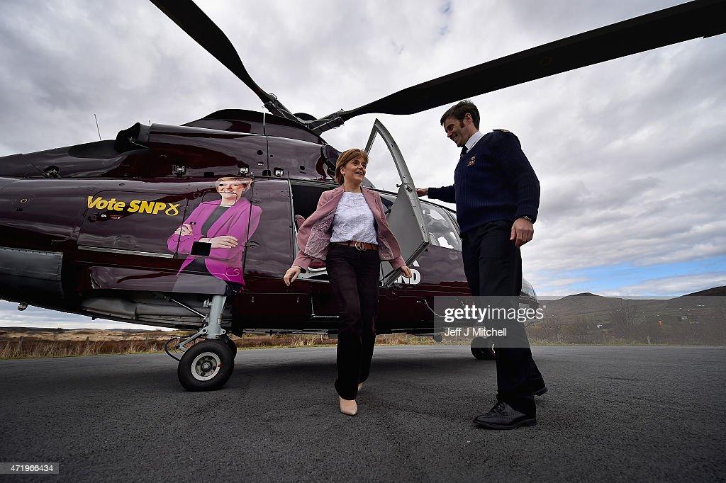 On Board Nicola Sturgeon's Helicopter As She Flies To The Isle Of Skye : News Photo