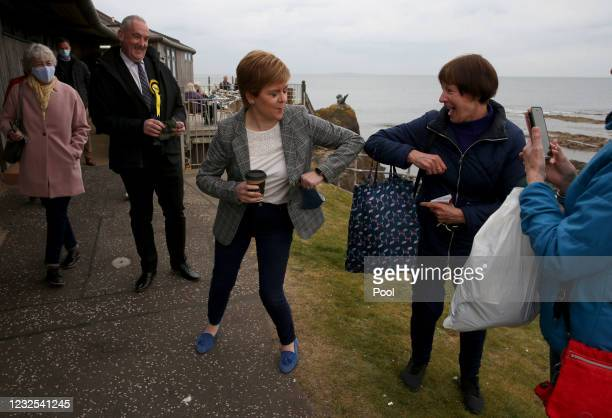 First Minister and Leader of the SNP Nicola Sturgeon during a visit to North Berwick on the 2021 Scottish Parliament election campaign trail on April...