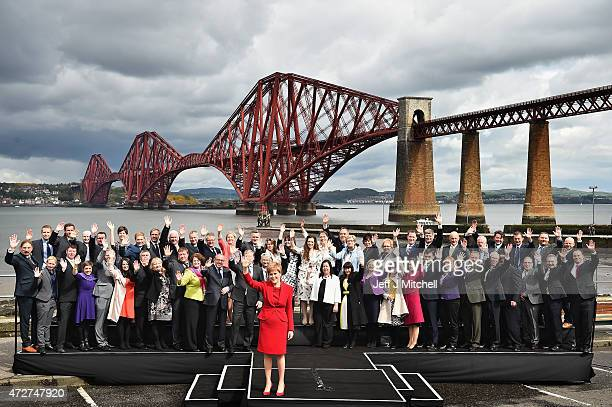 First Minister and leader of the SNP Nicola Sturgeon is joined by the newly elected members of parliament as they gather in front of the Forth Rail...