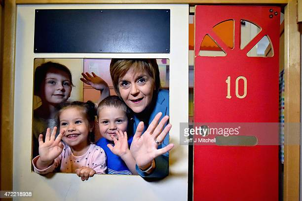 First Minister and leader of the SNP Nicola Sturgeon poses with children at ABC nursery as campaigning in the general election entered its last 48...