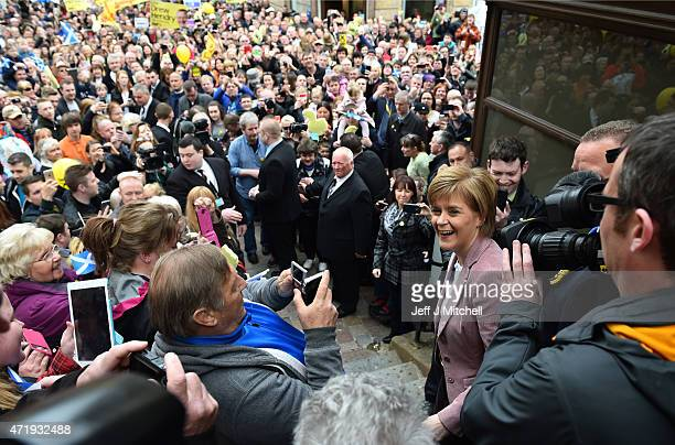 First Minister and leader of the SNP Nicola Sturgeon visits by helicopter as she campaigns on May 2 2015 in Inverness Scotland Continuing her...