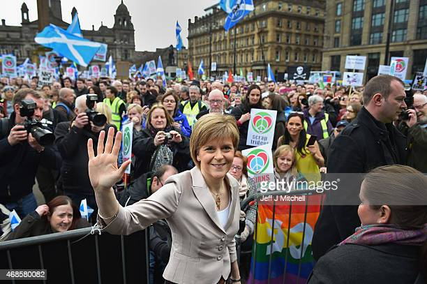 First Minister and SNP leader Nicola Sturgeon addresses the annual CND Scotland Scrap Trident rally in George Square on April 4 2015 in Glasgow...