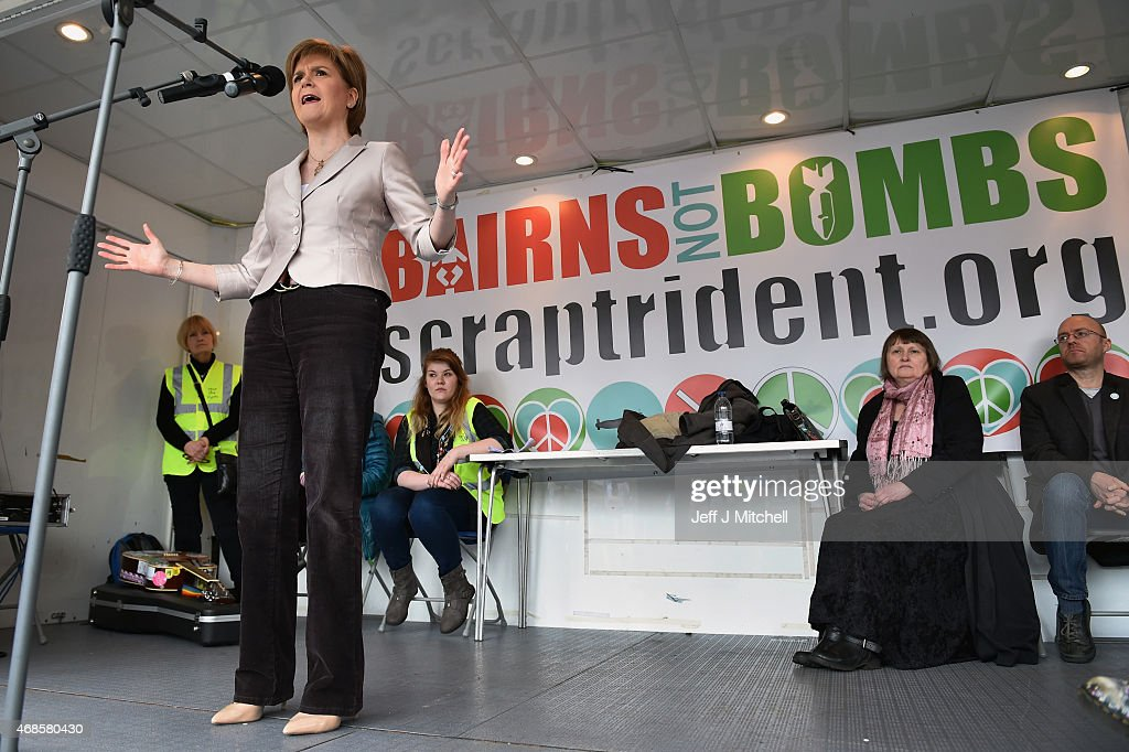 First Minister and SNP leader Nicola Sturgeon addresses the annual CND Scotland Scrap Trident rally in George Square on April 4, 2015 in Glasgow, Scotland. Nicola Sturgeon has accused Whitehall of dirty tricks after a report emerged claiming she told a French diplomat she would prefer David Cameron as Prime Minister of Britain over Ed Miliband.
