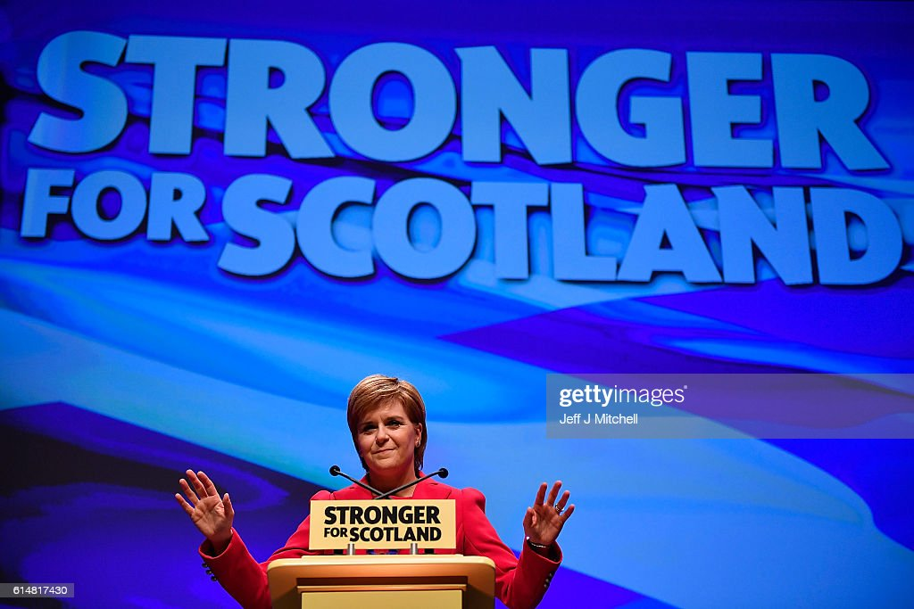 First Minister and SNP leader Nicola Sturgeon addresses the Scottish National Party Conference 2016 on October 15, 2016 in Glasgow, Scotland. Nicola Sturgeon ends her party's conference with a speech about a 'new political era' in the UK, stating that Scotland is 'open for business' in the post-Brexit era while also speaking about domestic policy priorities.