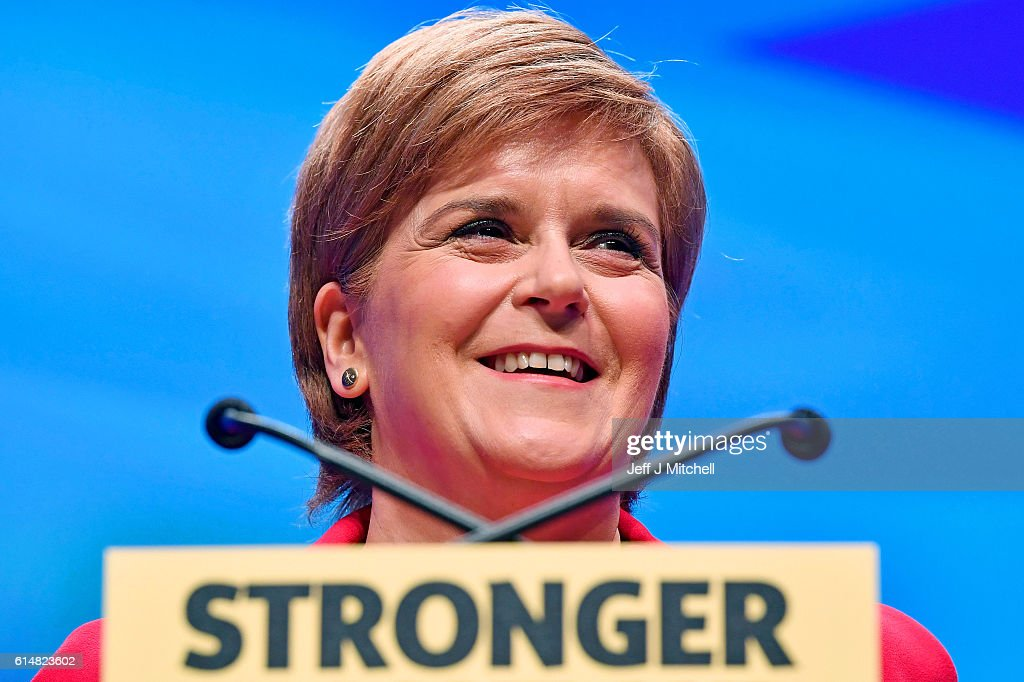 First Minister and SNP leader Nicola Sturgeon addresses the Scottish National Party Conference 2016 on October 15, 2016 in Glasgow, Scotland. Nicola Sturgeon ended her party's conference with a speech about a 'new political era' in the UK, stating that Scotland is 'open for business' in the post-Brexit era while also speaking about domestic policy priorities.