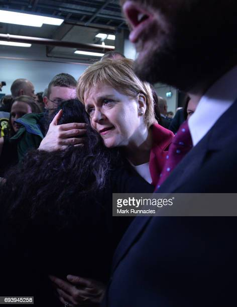 First Minister and SNP Leader Nicola Sturgeon is mobbed by SNP supporters and media as she arrives at the counting hall during the UK Parliamentary...
