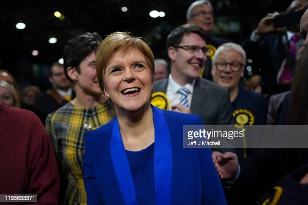 First Minister and SNP Leader Nicola Sturgeon is mobbed by SNP supporters as she arrives at the counting hall during the UK Parliamentary Elections...
