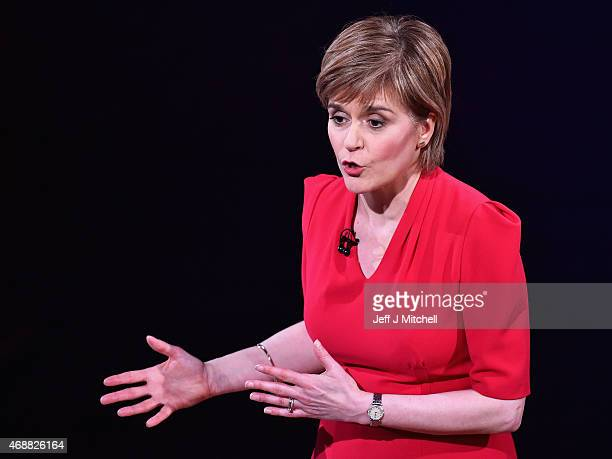First Minister and SNP leader Nicola Sturgeon speaks during the Scottish Television Debate at the Assembly Rooms on April 7 2015 in Edinburgh...