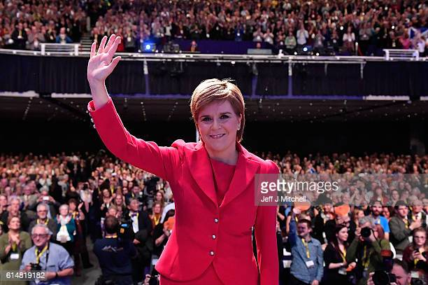 First Minister and SNP leader Nicola Sturgeon waves after she addressed the Scottish National Party Conference 2016 on October 15 2016 in Glasgow...