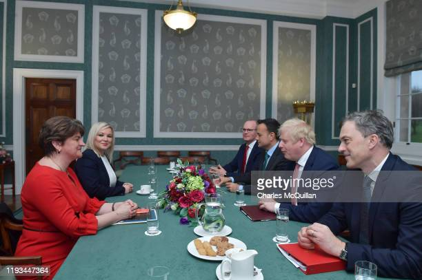 First Minister Arlene Foster of the DUP, First Minister Michelle O'Neill of Sinn Fein, Deputy Leader Simon Coveney of Fine Gael, Taoiseach, Leo...