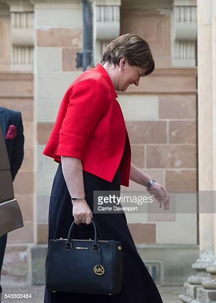 First Minister for Northern Ireland Arlene Foster arrives at Hillsborough Castle to meet Queen Elizabeth II and Prince Philip Duke of Edinburgh on...