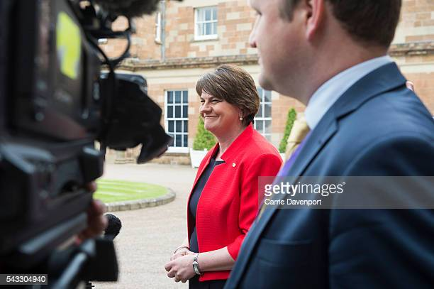 first Minister for Northern Ireland Arlene Foster is interviewed by press after her meeting with Queen Elizabeth II and Prince Philip Duke of...