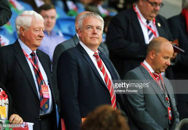 First Minister for Wales Carwyn Jones watches the game during the FIFA World Cup Qualifier Group D match between Wales and Austria at The Cardiff...