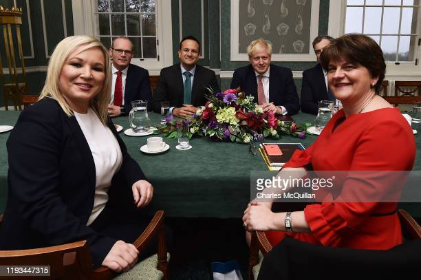 First Minister Michelle O'Neill of Sinn Fein, Deputy Leader Simon Coveney of Fine Gael, Taoiseach, Leo Varadkar, British Prime Minister Boris...