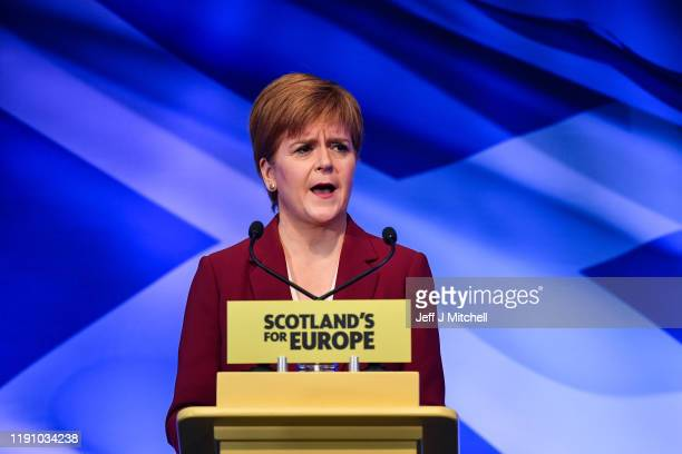 First Minister Nicola Sturgeon addresses party activists during a St Andrews day election speech setting out why Scotland's future should be in...