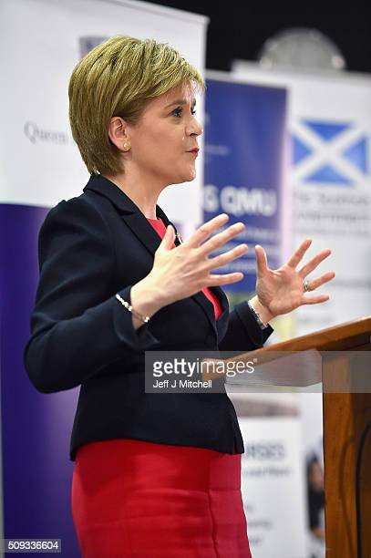 First Minister Nicola Sturgeon addresses students at Queen Margaret University on February 10 2016 in Mussleburgh Scotland The First Minister set out...