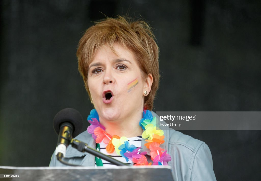First Minister Nicola Sturgeon addresses the assembled crowd at Glasgow Pride on August 19, 2017 in Glasgow, Scotland. The largest festival of LGBTI celebration in Scotland is held every year in Glasgow since 1996.