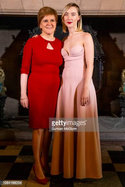 First Minister Nicola Sturgeon and Actress Saoirse Ronan attend Scotland Premiere of Mary Queen of Scots on January 14 2019 in Edinburgh Scotland