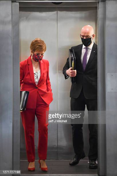 First Minister Nicola Sturgeon AND John Swinney Deputy First Minister arrive for First Minister's Questions at the Scottish Parliament on September...