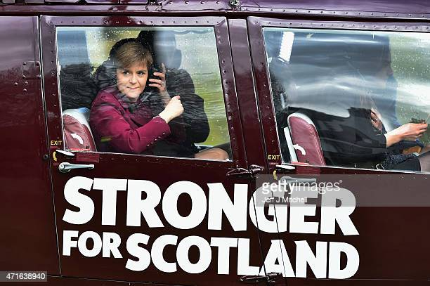 First Minister Nicola Sturgeon and leader of the SNP boards a helicopter at Prestonfield House to continue campaigning on April 30 2015 in Edinburgh...