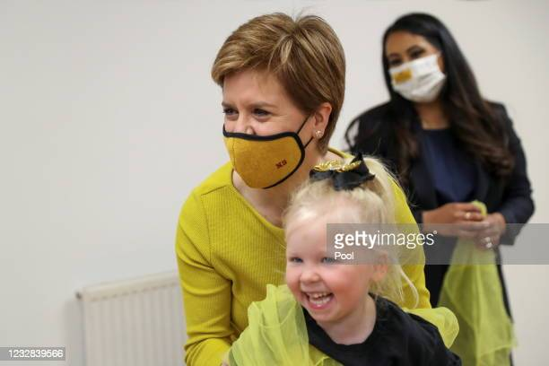 First Minister Nicola Sturgeon and SNP candidate, Anum Qaisar-Javed visit Empire School of Dance ahead of a by-election on May 12, 2021 in Airdrie,...
