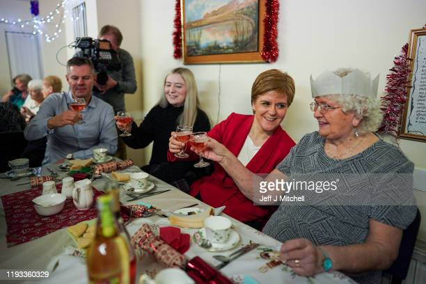 First Minister Nicola Sturgeon and SNP candidate in East Dunbartonshire Amy Callaghan attend a pensioners' Christmas dinner at the Fraser Centre on...
