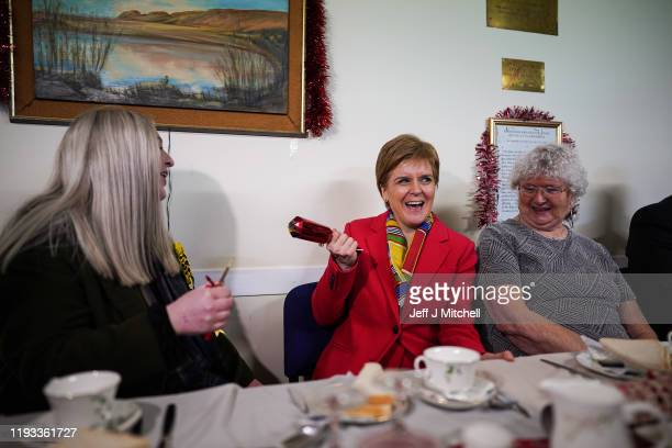 First Minister Nicola Sturgeon and SNP candidate in East Dunbartonshire Amy Callaghan attend a pensioners Christmas dinner at the Fraser Centre on...