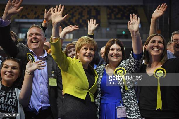 First minister Nicola Sturgeon and SNP candidate Susan Aitken attend the Glasgow count for the Scottish Local Government election at the Emirates...