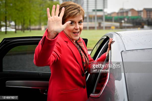 First Minister Nicola Sturgeon and the newly elected MSP for Kelvin Kaukab Stewart pose for a photograph outside Glasgow counting centre in the...