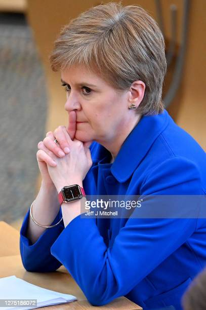 First Minister Nicola Sturgeon announces her plans to halt the spread of coronavirus at the Scottish Parliament on September 22, 2020 in Edinburgh,...
