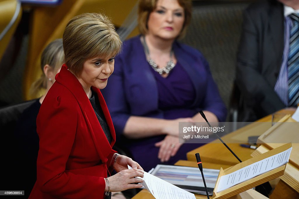 First Minister Nicola Sturgeon, announces her programme for government to the Scottish Parliament on November 26, 2014 in Edinburgh, Scotland. Ms Sturgeon said one of her main policies would be to take forward a manifesto commitment to establish an independent commission to examine fairer alternatives to existing system of council tax, during her speech to parliament where she set out her legislative programme for the next 12 month.
