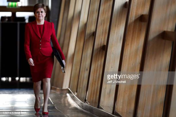First Minister Nicola Sturgeon arrives ahead of First Minister's Questions at the Scottish Parliament on January 23, 2020 in Edinburgh, Scotland. The...