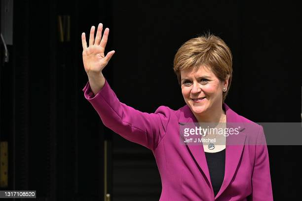 First Minister Nicola Sturgeon arrives back at Bute House after the SNP won a historic fourth term in government on May 09, 2021 in Edinburgh,...
